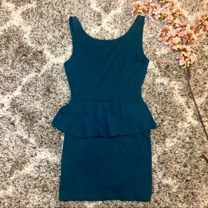Pins and Needles Teal Peplum Bodycon Dress